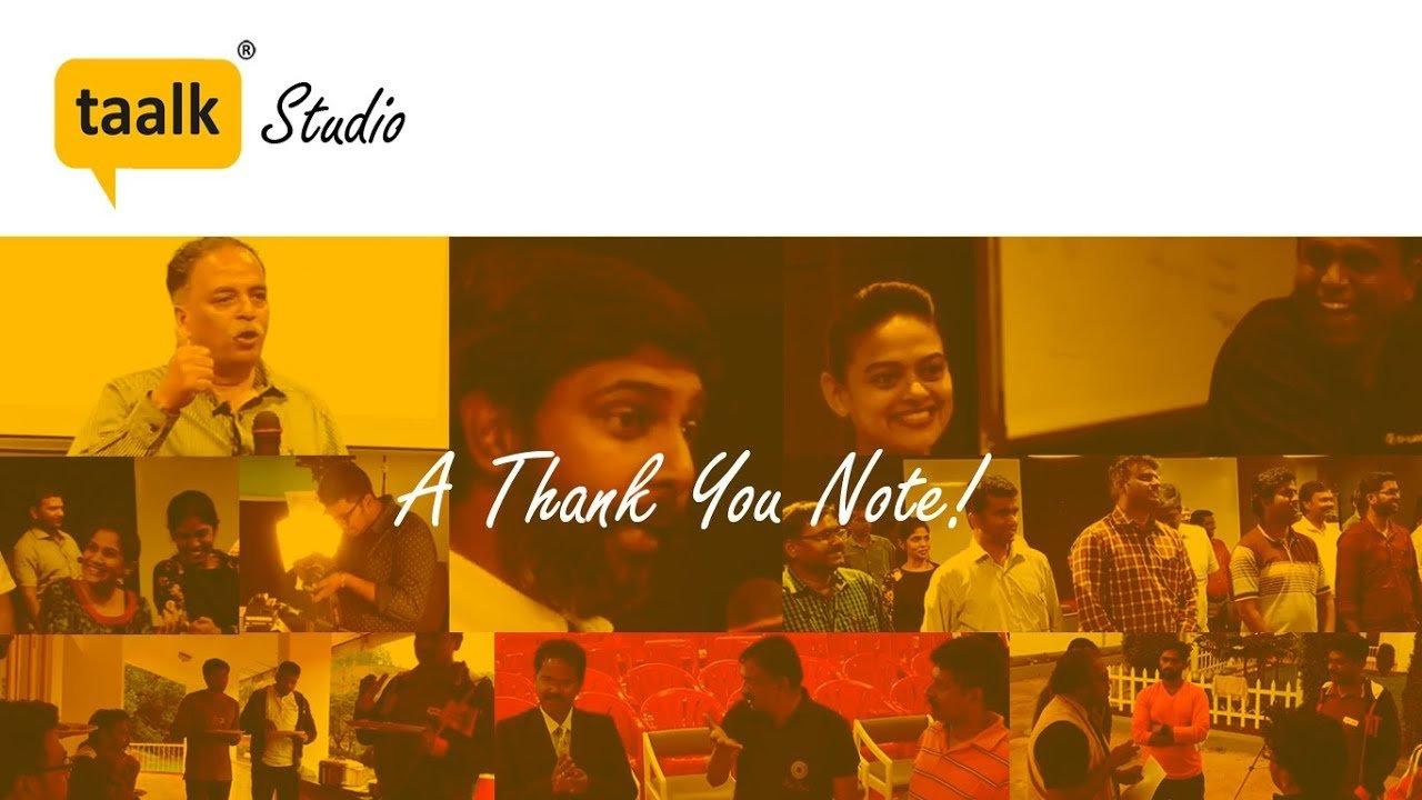 A Thank you note from taalk